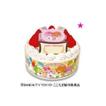 キャラデコお祝いケーキ かみさまみならい ヒミツのここたま ショートケーキ(苺サンド)/(フルーツサンド)