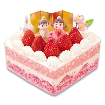 ひなまつり 桃色ショートケーキ