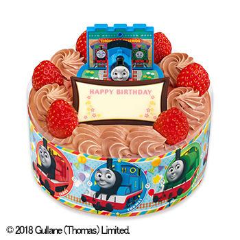 キャラデコお祝いケーキ きかんしゃトーマス チョコショートケーキ(ピーチ&アップル)