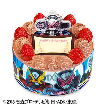 キャラデコお祝いケーキ 仮面ライダージオウ チョコショートケーキ(ピーチ&アップル)