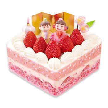 ひなまつり桃色ショートケーキ