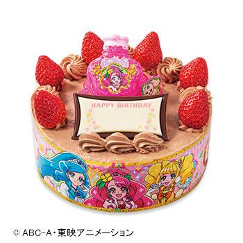 キャラデコお祝いケーキ ヒーリングっど♡プリキュア チョコショートケーキ(ピーチ&アップル)