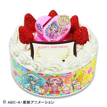 キャラデコお祝いケーキ HUGっと!プリキュア<br /> ショートケーキ(苺サンド)/(フルーツサンド)
