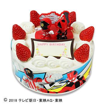 キャラデコお祝いケーキ 快盗戦隊ルパンレンジャー VS警察戦隊パトレンジャー ショートケーキ(ピーチサンド)