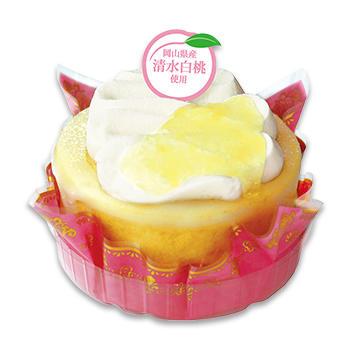 たっぷりクリームの切り株ケーキ (岡山県産清水白桃)